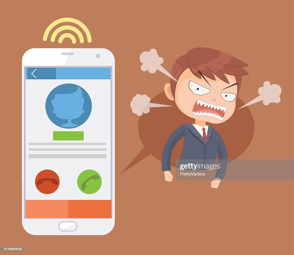 Angry office man boss character call. Vector flat cartoon illustration