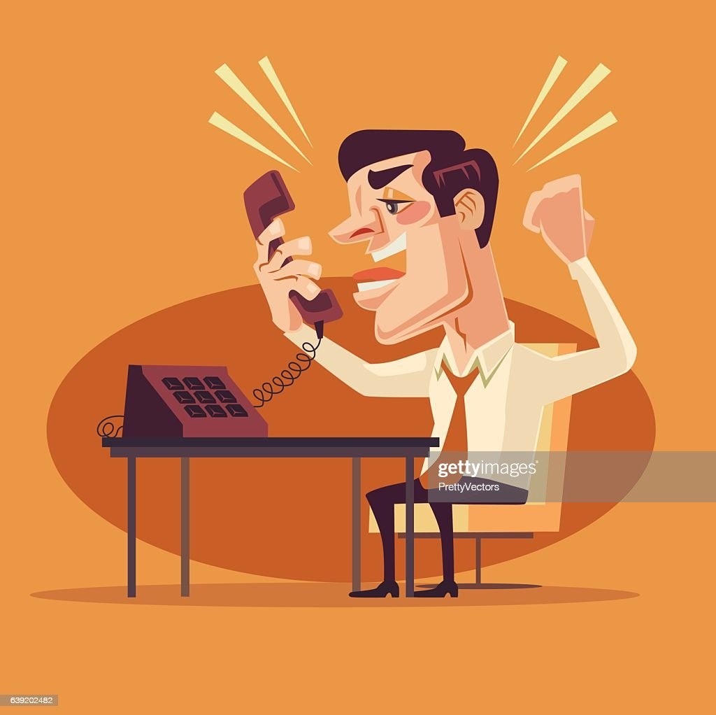 Angry office worker character shouting on phone