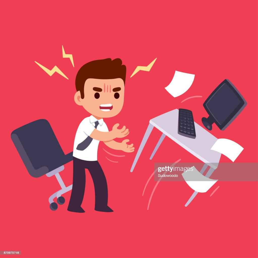 Angry office worker flipping table