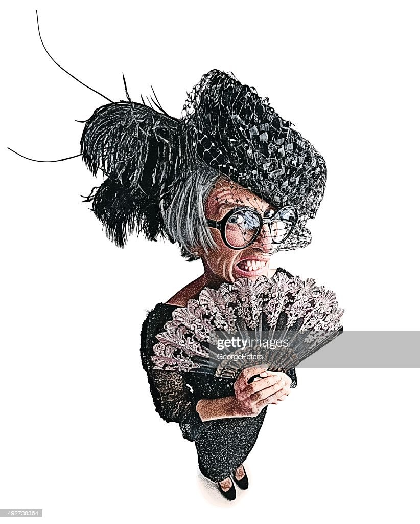 Angry Old Lady with Fisheye Lens Effect and Funny Expression : stock illustration