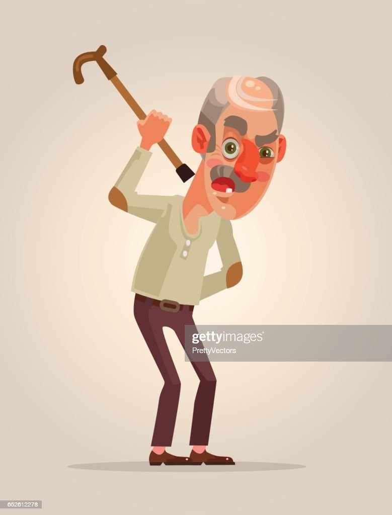 Angry old man character