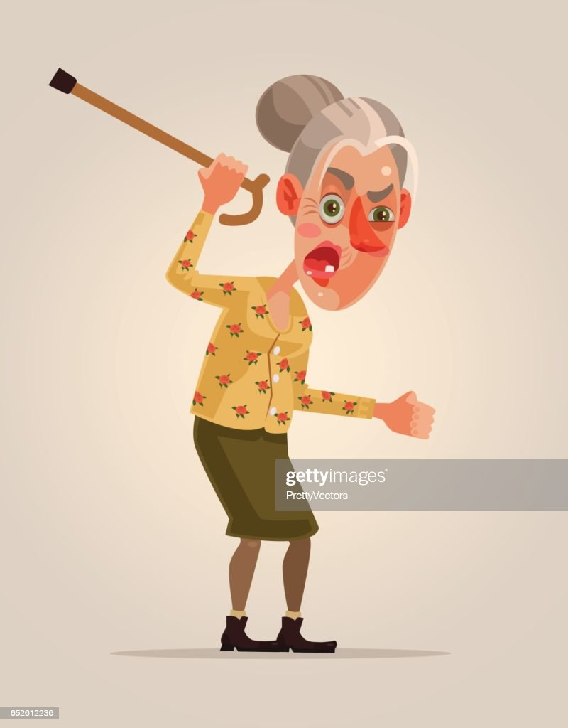 Angry old woman character