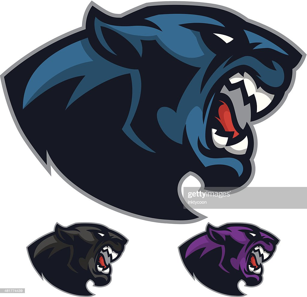 angry panther mascot heads vector art getty images