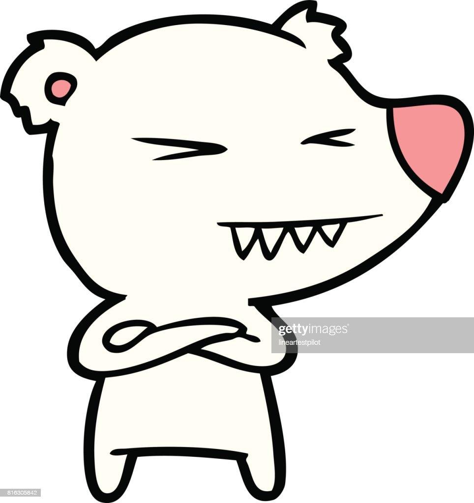 angry polar bear cartoon with folded arms