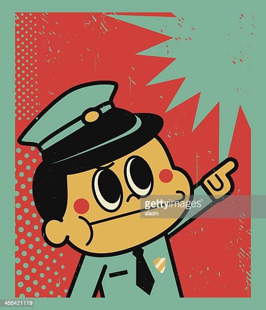 Angry polícia aponta para alguma coisa!