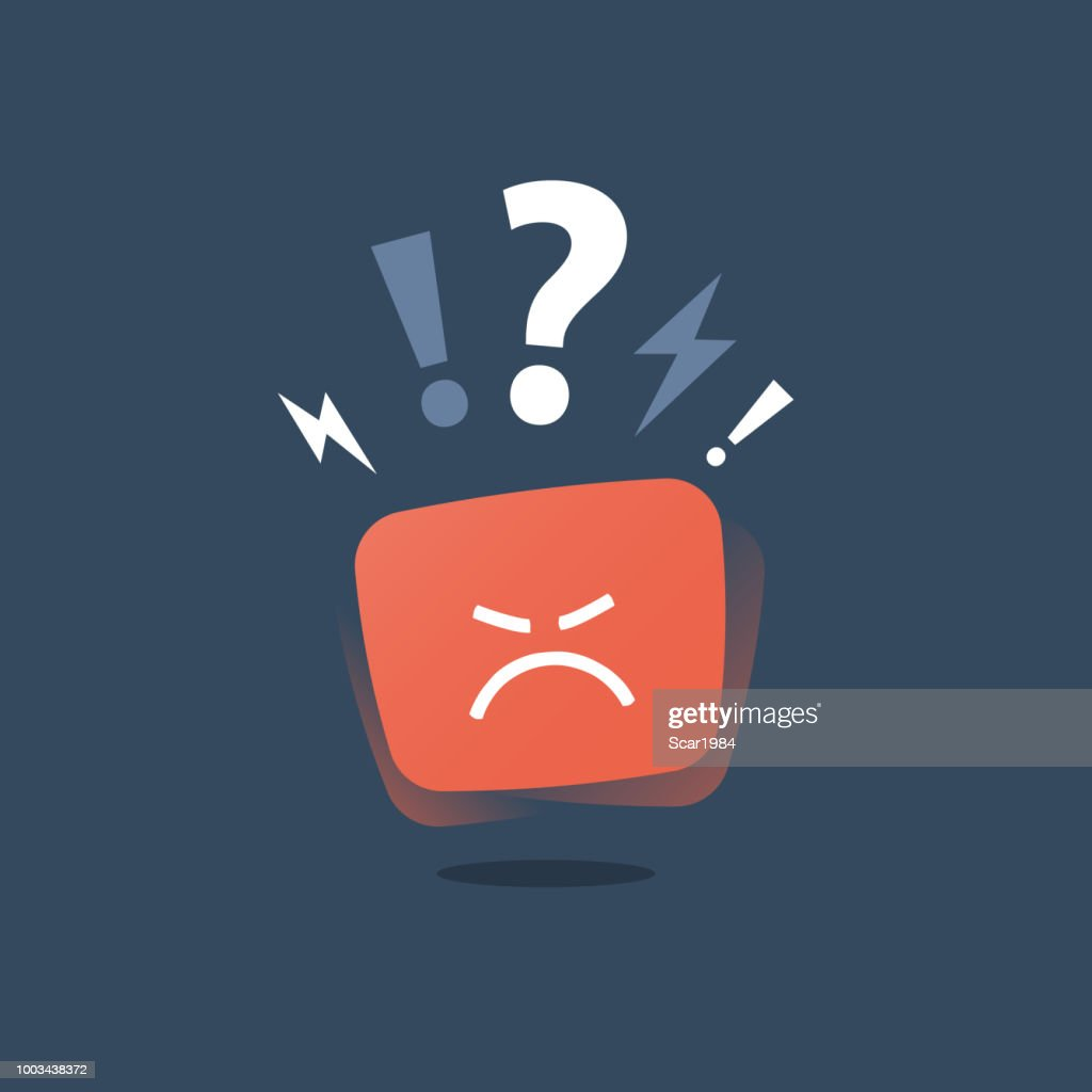 Angry red face, mad emoticon sticker, negative thinking, bad experience feedback, difficult communication, poor service quality