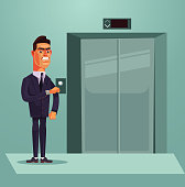 Angry sad nervous office worker businessman character waiting for elevator