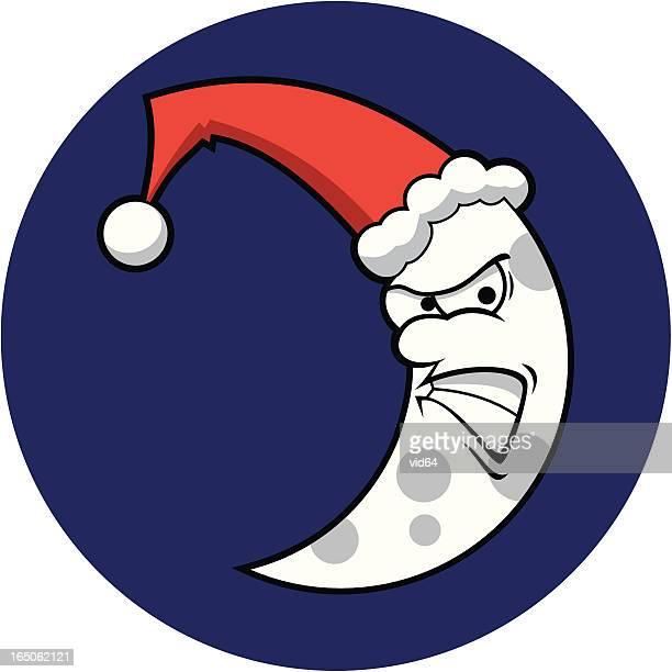 angry santa moon - man in the moon stock illustrations, clip art, cartoons, & icons