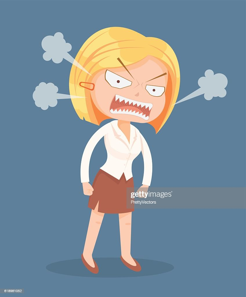 Angry screaming office worker woman character
