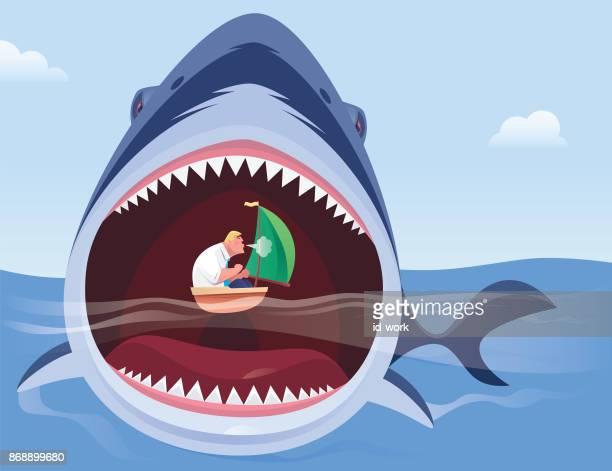 illustrations, cliparts, dessins animés et icônes de homme d'affaires attaque de requin en colère - requin