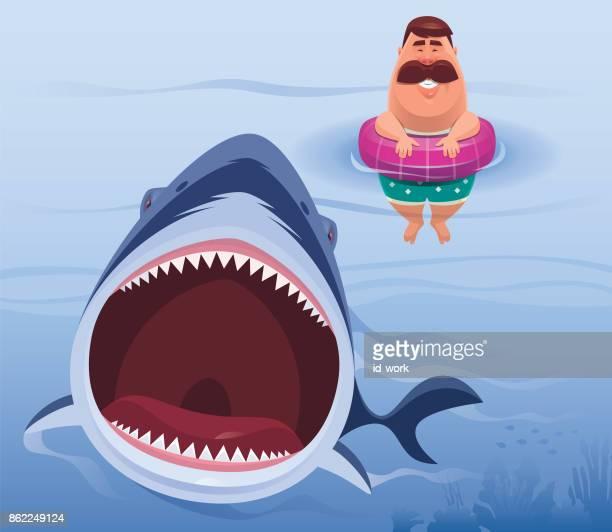 illustrations, cliparts, dessins animés et icônes de homme attaque de requin en colère - requin