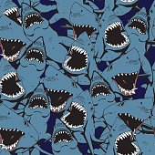 Angry Shark Collage. Hand Drawn Sea Life Pattern. Animal and Wildlife Illustration.