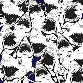 Angry Shark Collage. Hand Drawn Sea Life Pattern.