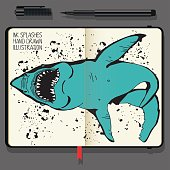 Angry Shark Collage in Circle. Sea Life illustration. Vector Notebooks with Fine Liner Pen and Hand Drawn Doodles.