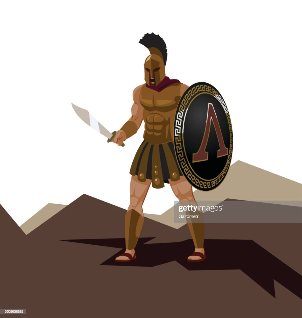 Angry spartan warrior with armor and hoplite shield holding a sword