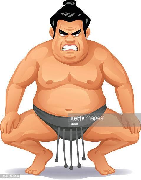 angry sumo wrestler - sumo wrestling stock illustrations