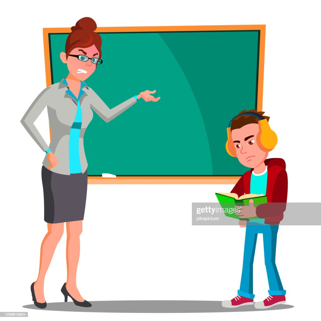 Angry Teacher At The Blackboard, The Child At Desk Looking Into The Book With Headphones Vector. Isolated Illustration