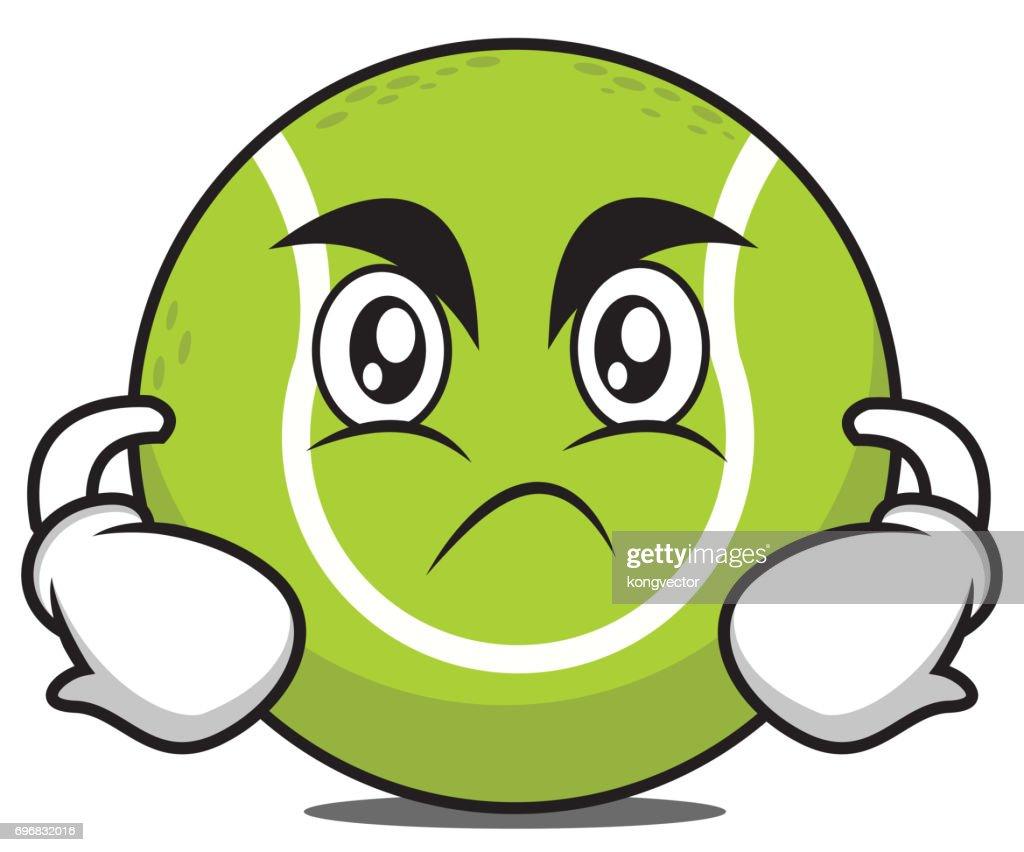 Angry tennis ball cartoon character vector art