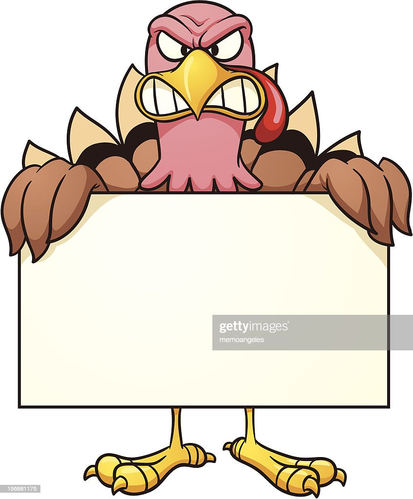 Angry turkey with sign