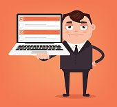 Angry upset businessman office worker man character hold laptop with checkboxes