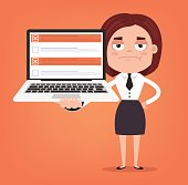 Angry upset businessman office worker woman character hold laptop with checkboxes