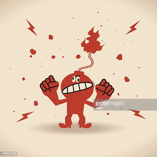 ilustraciones, imágenes clip art, dibujos animados e iconos de stock de angry - bomba