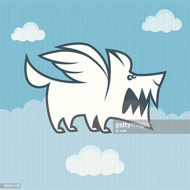 angry winged dog symbol