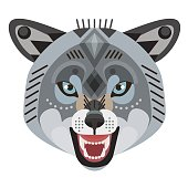Angry wolf head icon. Vector decorative Emblem.
