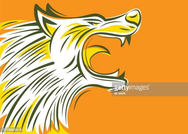 ilustrações de stock, clip art, desenhos animados e ícones de angry wolf head - lobisomem