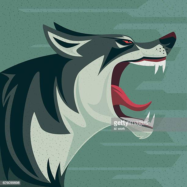 angry wolf roaring - agression stock illustrations, clip art, cartoons, & icons