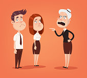 Angry woman boss character scream on employee office workers