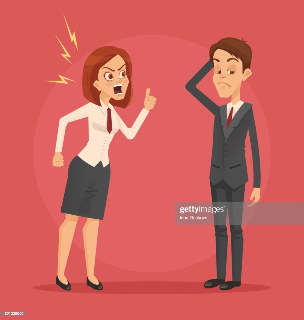 Angry woman boss character yelling at employee man office worker