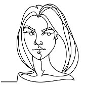 Angry Woman One Line Art Portrait. Unhappy Female Facial Expression. Hand Drawn Linear Woman Silhouette. Vector illustration