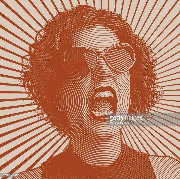ilustraciones, imágenes clip art, dibujos animados e iconos de stock de angry mujer pateando - sol en la cara