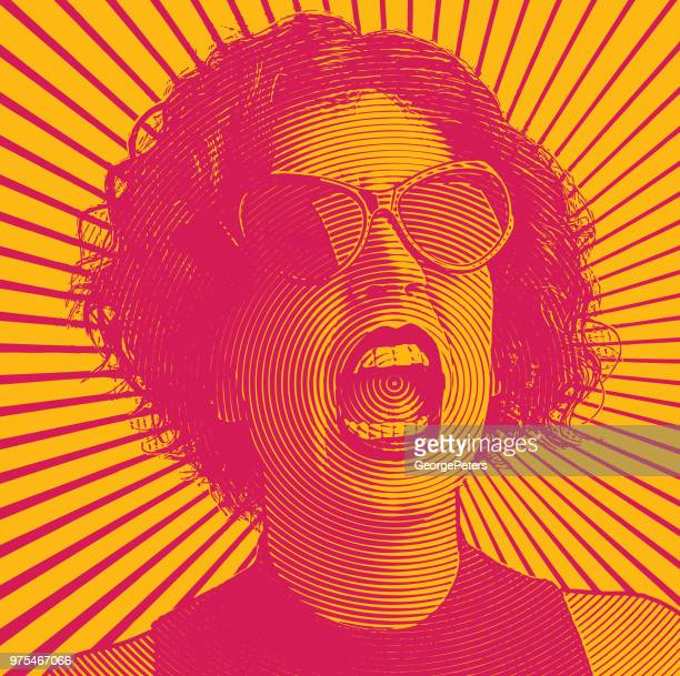 angry woman screaming - furious stock illustrations