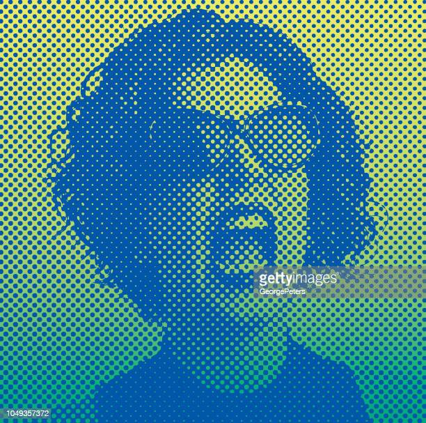 angry woman screaming with halftone dot - me too social movement stock illustrations, clip art, cartoons, & icons