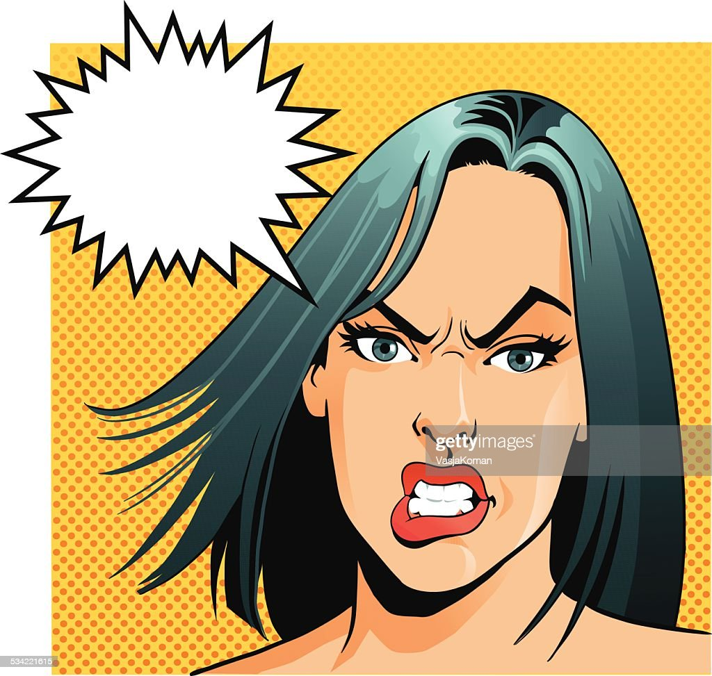 Angry Woman With Speech Bubble : stock illustration