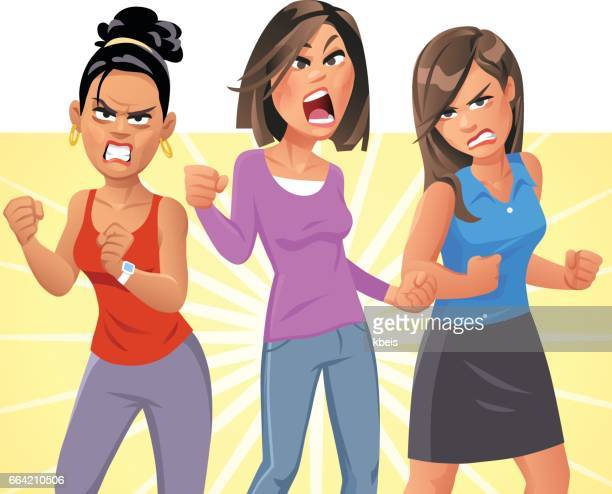angry young women - battle of the sexes concept stock illustrations