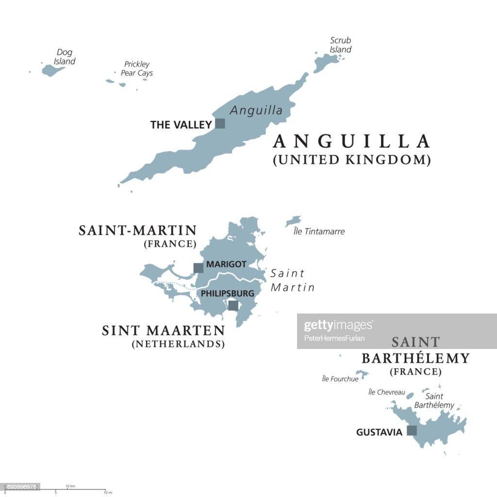 Anguilla, Saint-Martin, Sint Maarten and Saint Barthelemy political map