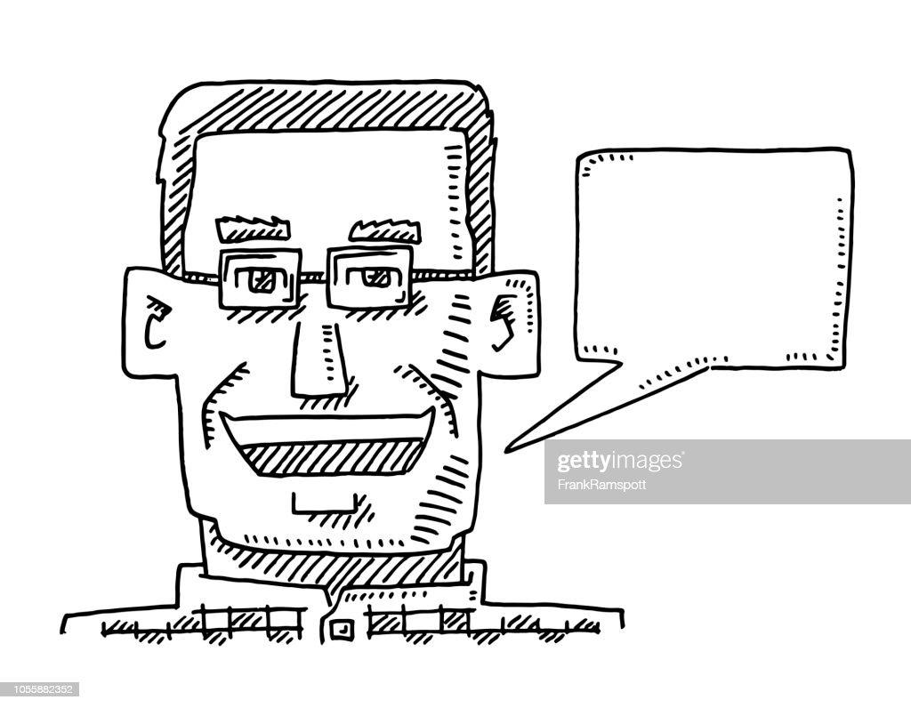 Eckige Portrait Mann Speech Bubble Zeichnung : Vektorgrafik