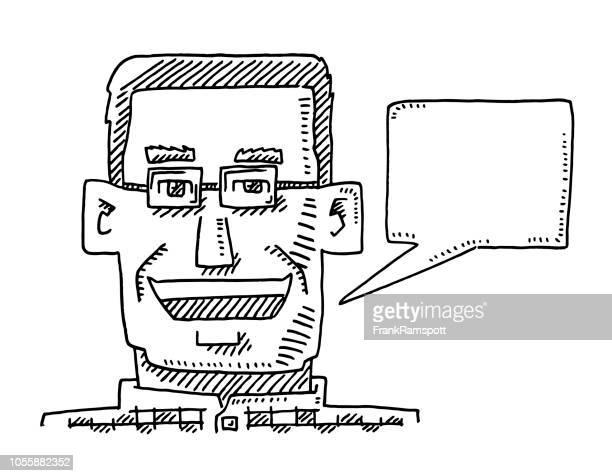 Eckige Portrait Mann Speech Bubble Zeichnung