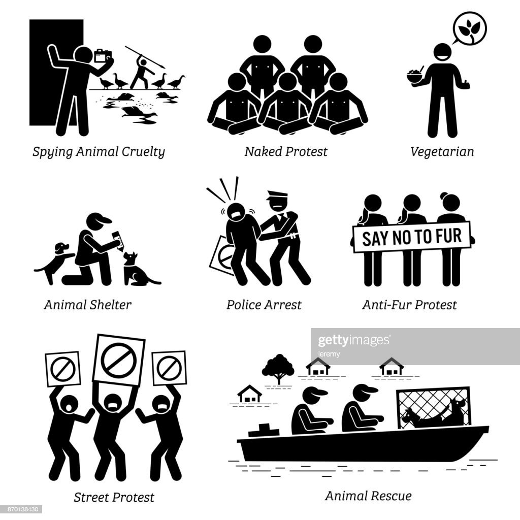Animal Activists Organization and People Stick Figure Pictogram Icons.