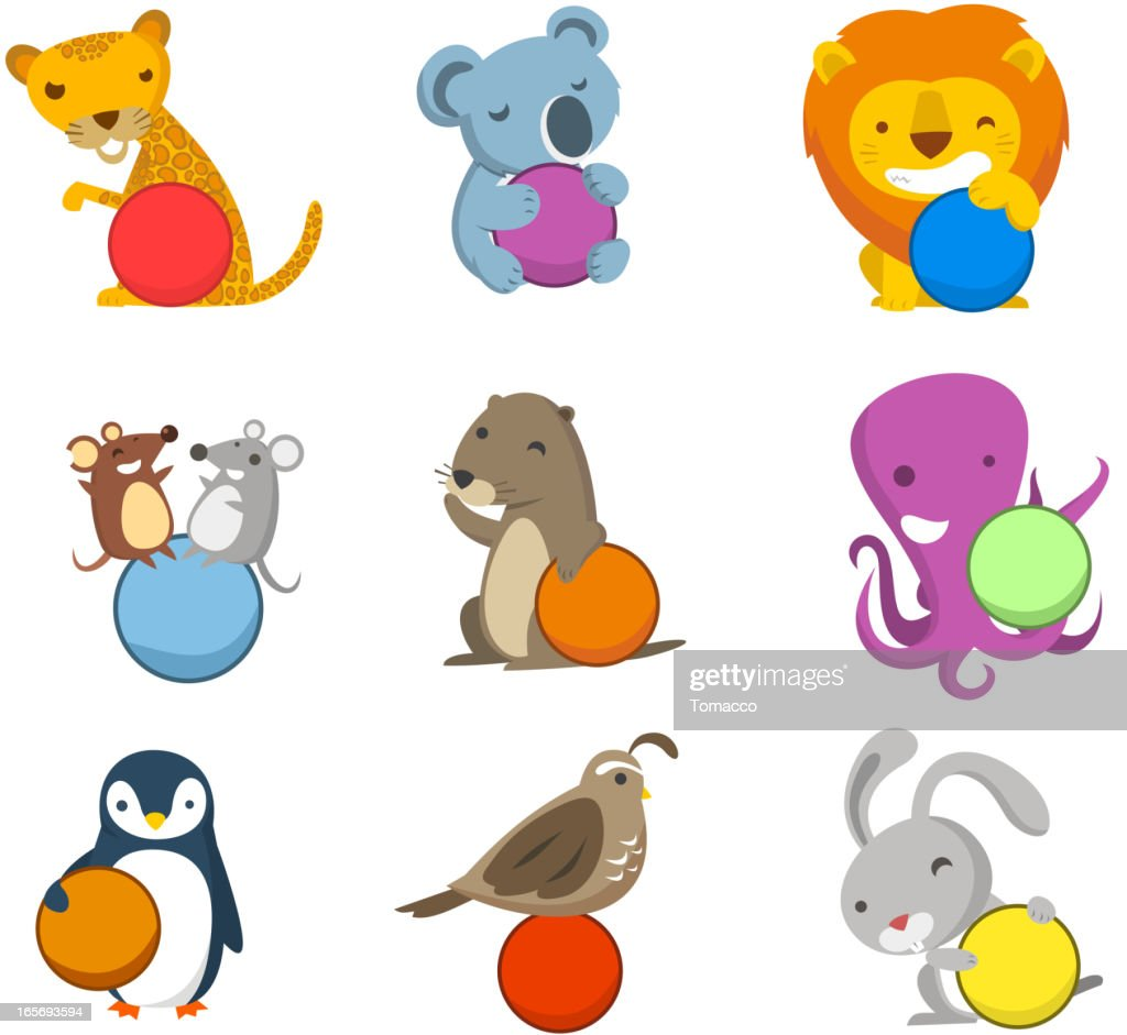 Animal Alphabet With Balls To Fill In Letters Numbers Symbols Vector