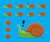 Animal Animation Sequence Snail Shell Hiding Cartoon Vector