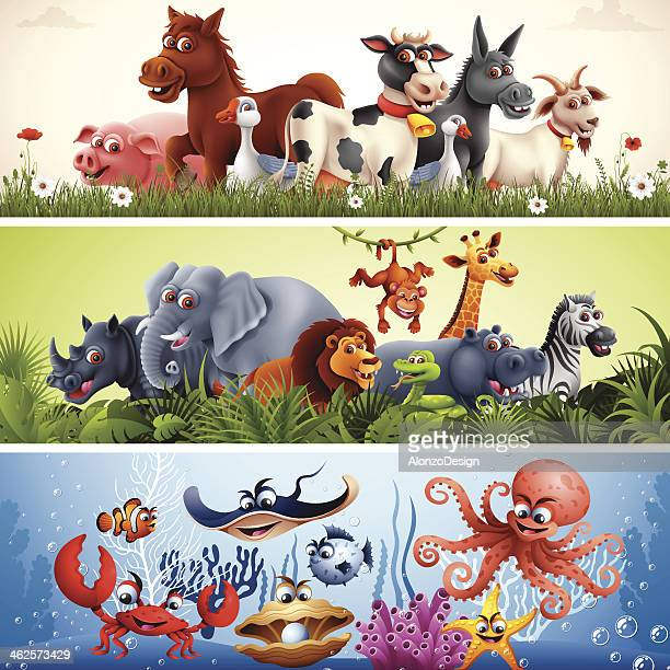 animal banners - animal stock illustrations