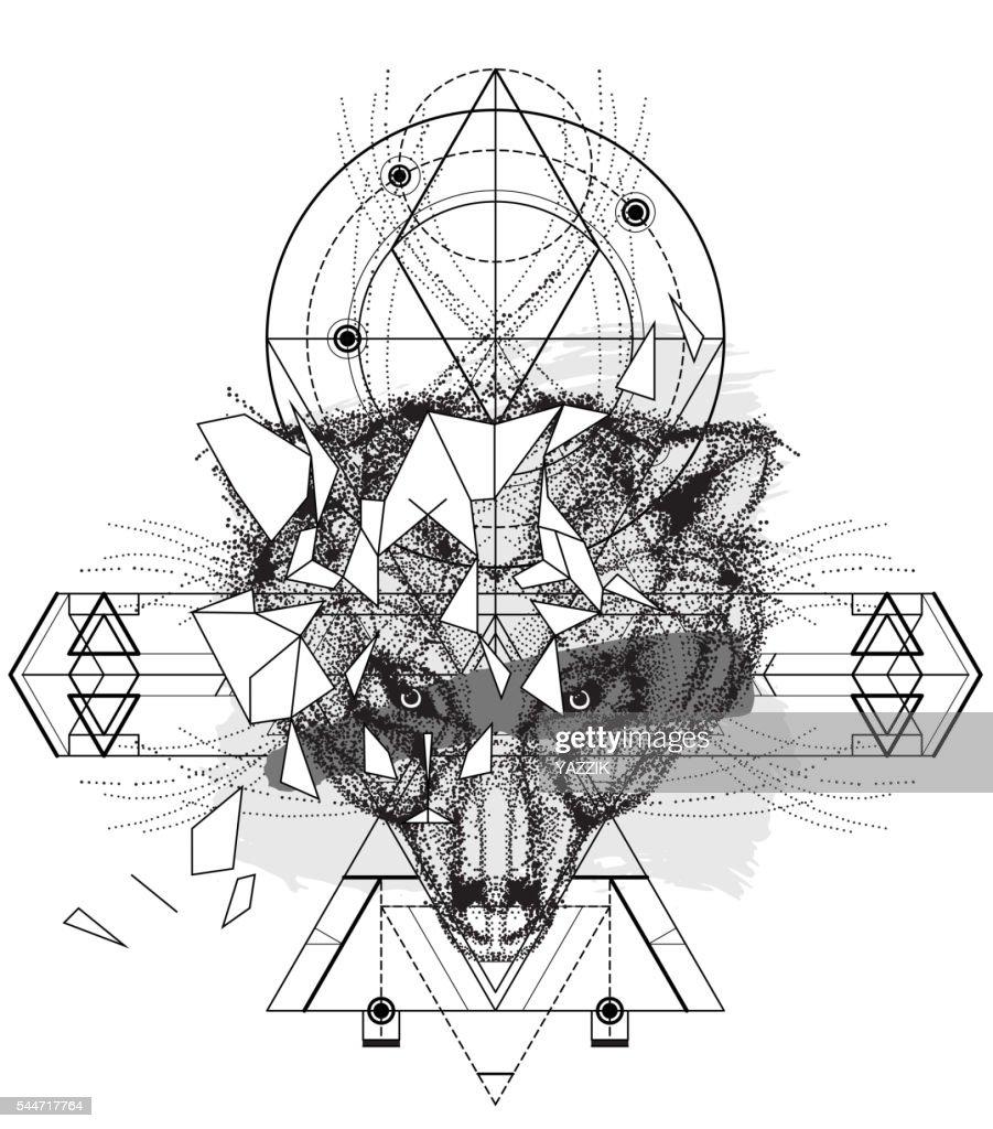 Animal bear head triangular icon