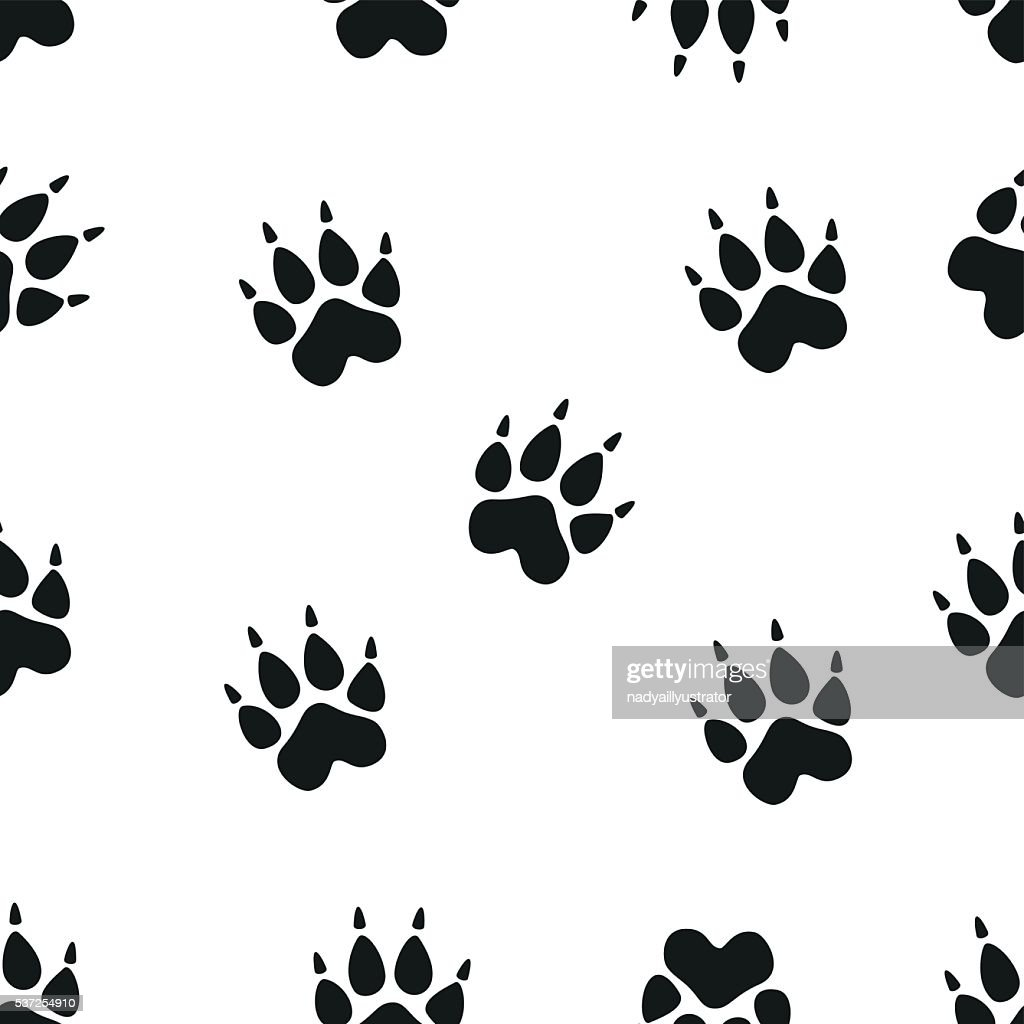 Animal - birds and mammals footprints silhouettes set isolated on