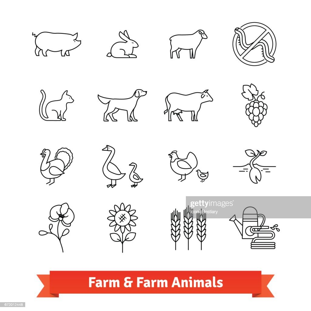 Animal breeding and farming thin line art icons