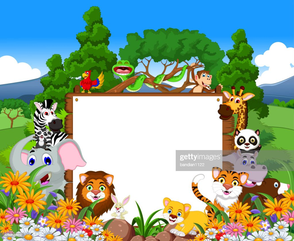 animal cartoon collection with blank board