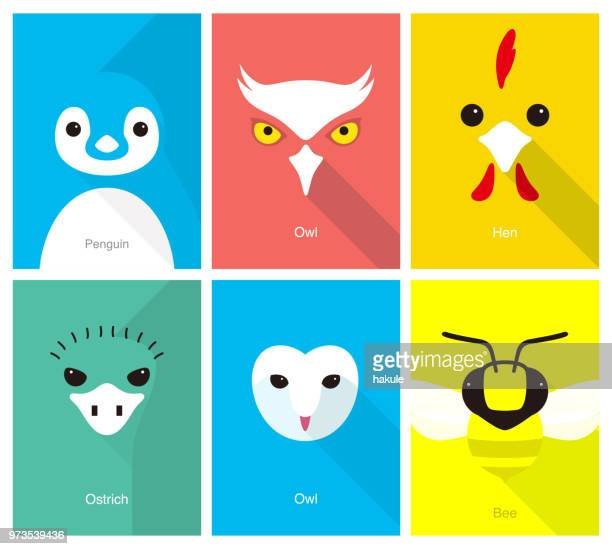 animal cartoon face, flat face icon, vector illustration - ostrich stock illustrations, clip art, cartoons, & icons